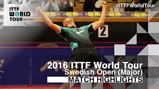 [동영상] ZHOU Yu VS HACHARD Antoine 2016 년 스웨덴 오픈 베스트 64