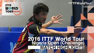 [동영상] 디오고 첸 VS OMOTAYO Olajide 2016 년 프리미어 로또 나이지리아 오픈 준준결승